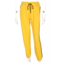 Leisure Striped Side Drawstring Waist Sports Pants
