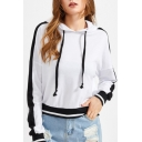 New Fashion Color Block Striped Long Sleeve Hoodie