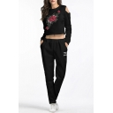 Chic Floral Embroidered Hollow Out Cropped Tee Sports Co-ords
