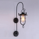 Industrial Nautical Wall Light with Metal Cage and Glass Shade, Black