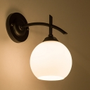 Industrial Wall Sconce with Globe Glass Shade in White Finish