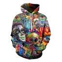 Fashion 3D Character Skull Print Drawstring Hood Long Sleeve