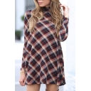 Stylish Tartan Plaids High Neck Long Sleeves Mini Swing Dress
