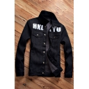 Fashion Letter Graphic Print Single Breasted Long Sleeve Denim Jacket