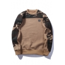 Leisure Camouflage Round Neck Long Sleeve Unisex Pullover Sweatshirt