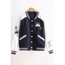 New Fashion Color Block Cartoon Embroidered Stand-Up Collar Long Sleeve Baseball Coat