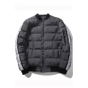Fashion Color Block Striped Side Stand-Up Collar Unisex Padded Coat