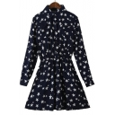 New Fashion Chic Star Pattern Lapel Long Sleeve Buttons Down Shirt Mini Dress