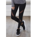 New Fashion Simple Plain Sheer Mesh Panel Elastic Waist Sports Leggings