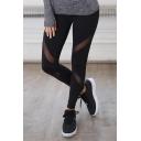 New Fashion Simple Plain Sheer Mesh Panel Elastic Waist Sports Leggings