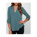 New Simple V-Neck Half Sleeve Loose Fit T-Shirt