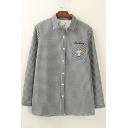 Classic Plaid Embroidery Deer Pattern Long Sleeve Button Down Shirt