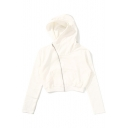 Simple Plain Zip Placket Long Sleeve Cropped Hooded Coat