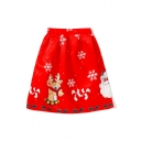 New Fashion Snowflake Christmas Deer Print A-Line Midi Skirt