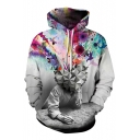 Colorful 3D Print Long Sleeve Pullover Hoodie with Kangaroo Pocket