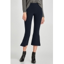 New Stylish Simple Plain Zip Fly Split Side Flared Pants