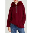 Fashion Faux Fur Hooded Long Sleeve Pocket Zipper Plain Hoodie