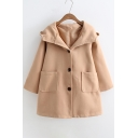 Fashion Single Breasted Contrast Bear's Ear Hood Long Sleeve Coat