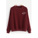 Leiusre Embroidered Planet Round Neck Long Sleeve Pullover Sweatshirt