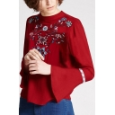 Chic Embroidery Floral Pattern Flared Cuff Button Back Blouse