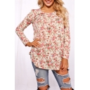 Country-Style Floral Printed Scoop Neck Long Sleeves Cowl-Front Peasant Blouse