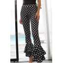 New Stylish Polka Dot Print Ruffle Trim Skinny Pants