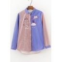 Color Block Cartoon Embroidered Lapel Long Sleeve Buttons Down Shirt