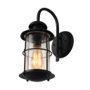 Industrial Wall Light with Cylinder Glass Shade in Black Finish