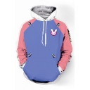 Fashion Color Block Rabbit Print Long Sleeve Pocket Hoodie