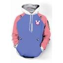 Fashion Color Block Rabbit Print Long Sleeve Pocket Hoodie