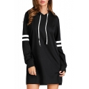 Simple Long Sleeves Striped Hooded Mini Dress