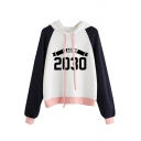 Color Block Letter Number Print Drawstring Hood Long Sleeve Hoodie