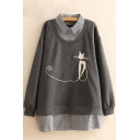 Chic Fake Two-Piece Cat Embroidered Long Sleeve Tunic Pullover Sweatshirt