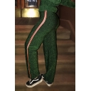 Fashionable Striped Side Zip Fly Leisure Straight Leg Pants