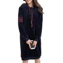 Women's Winter Warm Ribbed Long Sleeve Hoodie Mini Dress