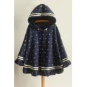 New Fashion Cartoon Print Striped Long Sleeve Cape with Hood