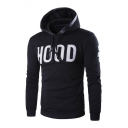 Fashion Letter Print Drawstring Hood Long Sleeve Unisex Hoodie