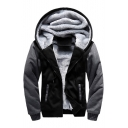 Fashionable Color Block Print Zipper Long Sleeve Unisex Hooded Coat