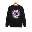 Fashion Tiger Print Round Neck Long Sleeve Casual Unisex Pullover Sweatshirt