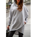 New Fashion Simple Plain Asymmetric Hem Long Sleeve Hoodie