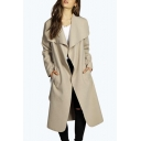 New Trendy Simple Plain Lapel Open Front Long Sleeve Trench Coat with Belt