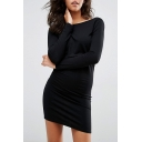 New Stylish Round Neck Long Sleeve Open Back Simple Plain Mini Dress