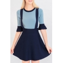 New Fashion Simple Color Block Round Neck Half Sleeve A-Line Mini Dress