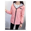 New Stylish Print Zip Up Long Sleeve Reversible Coat