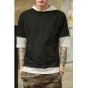 New Half Sleeve Pocket Front Color Block Hoodie