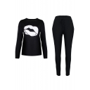 New Stylish Lip Mouth Print Long Sleeve Round Neck Leisure Co-ords