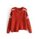 Chic Striped Print Long Sleeve Round Neck Asymmetric Hem Pullover Sweater