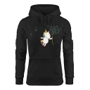 New Stylish Unicorn Print Long Sleeve Pocket Hoodie