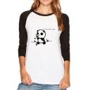 New Fashion Cartoon Panda Letter Print Long Sleeve T-Shirt