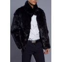 New Stylish Stand-Up Collar Long Sleeve Plain Faux Fur Coat